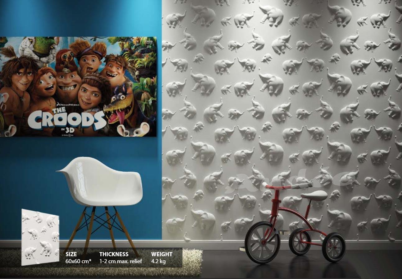 Habillage Mural 3D en plâtre Model 14 Jugle 1